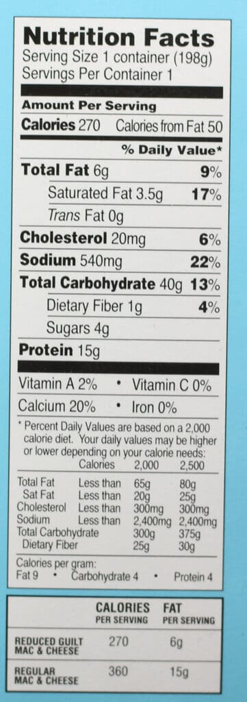 Calories and nutritional information for Trader Joe's Reduced Guilt Mac and Cheese nutritional information