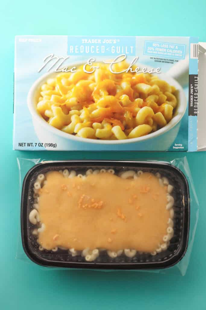 Trader Joe's Reduced Guilt Mac and Cheese frozen and out of the original box