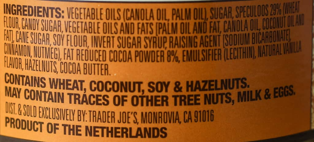 Trader Joe's Speculoos Cookie and Cocoa Swirl ingredients