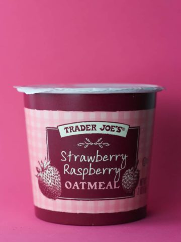 Trader Joe's Strawberry Raspberry Oatmeal container
