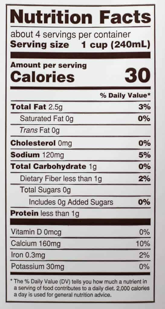 Trader Joe's Unsweetened Almond Cashew and Macadamia Nut Beverage nutritional information