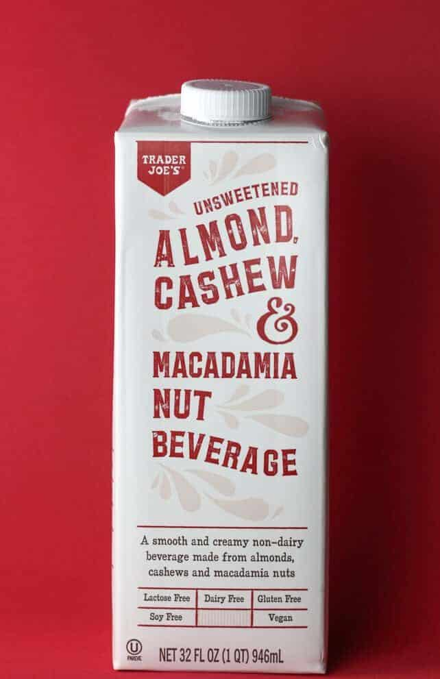 Trader Joe's Unsweetened Almond Cashew and Macadamia Nut Beverage box