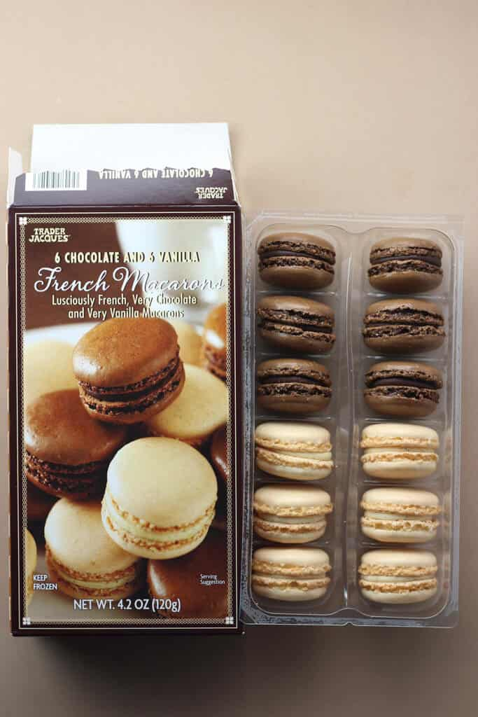 Trader Joe's 6 Chocolate and 6 Vanilla French Macarons out of the box
