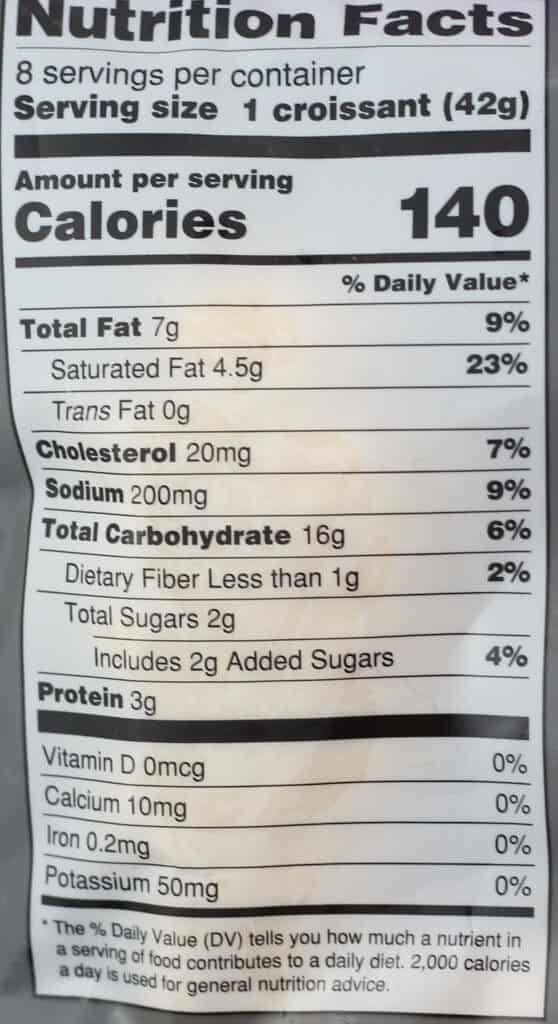 Trader Joe's 8 Mini Croissants nutritional information