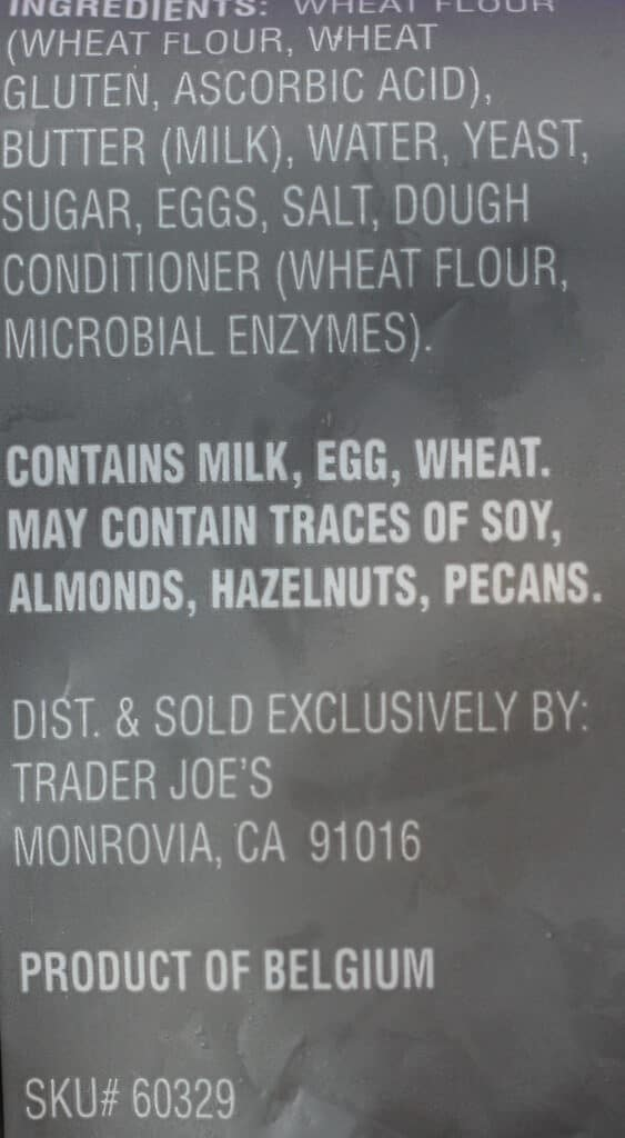 Trader Joe's 8 Mini Croissants ingredients