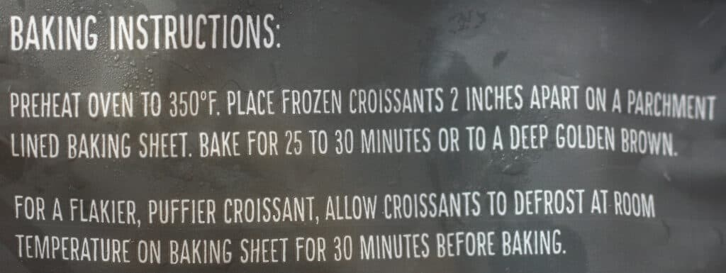 Trader Joe's 8 Mini Croissants baking instructions