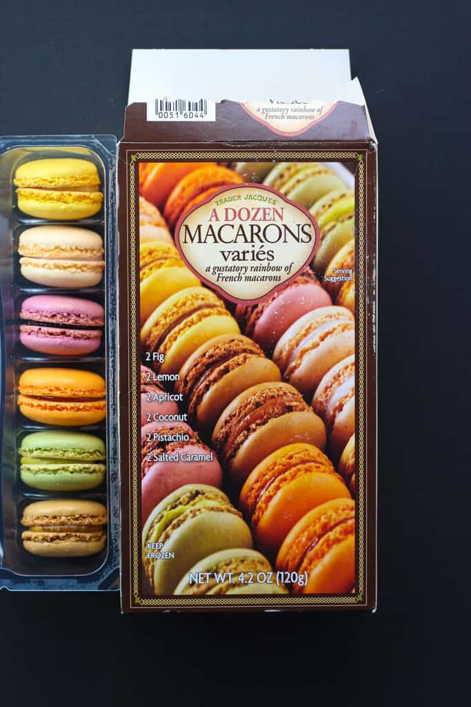 An open box of Trader Joe's A Dozen Macarons Varies