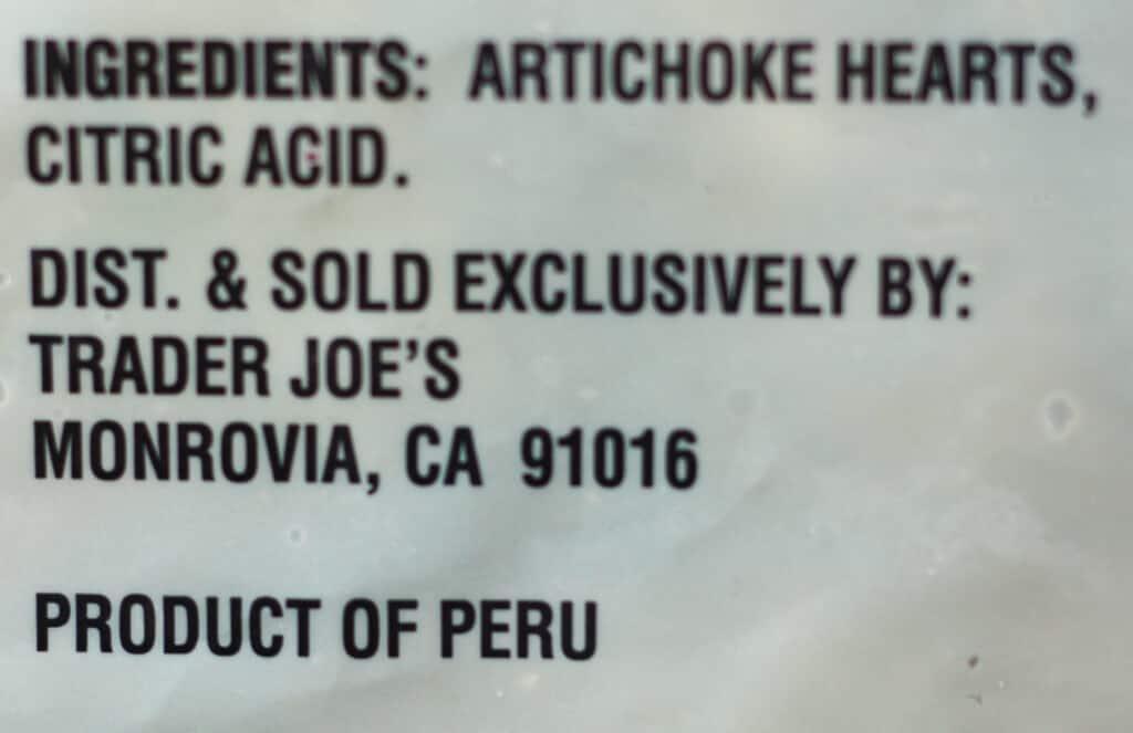 Trader Joe's Artichoke Hearts ingredients