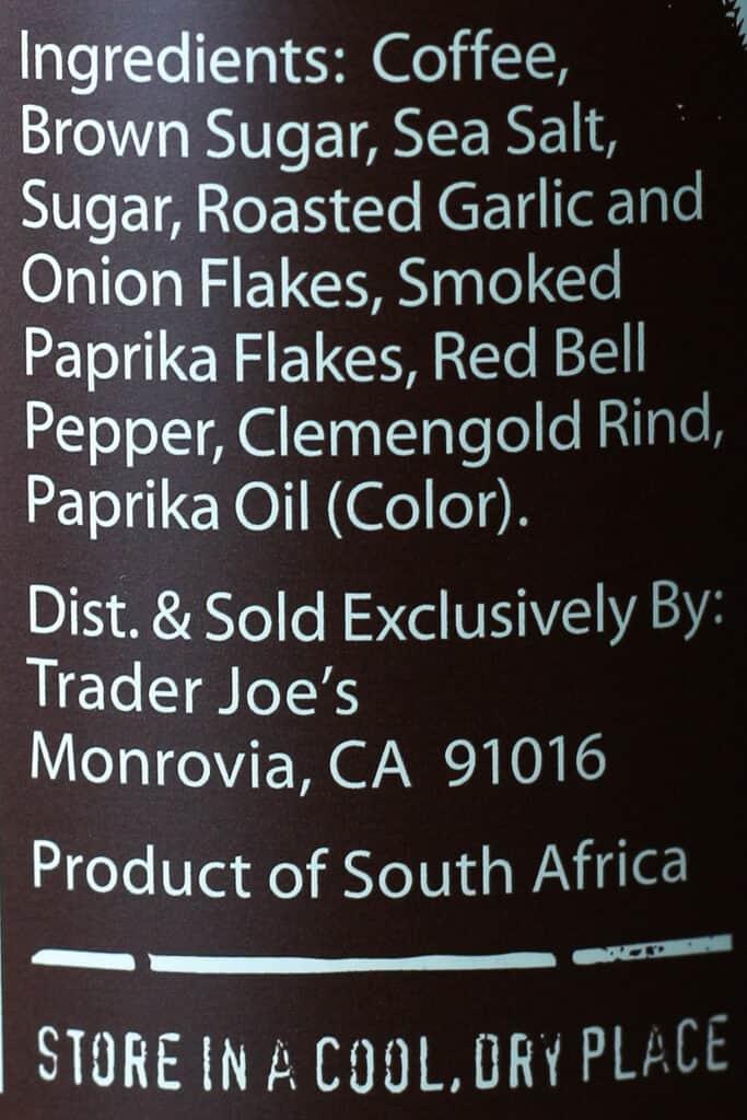 Trader Joe's BBQ Rub and Seasoning with Coffee and Garlic ingredient list