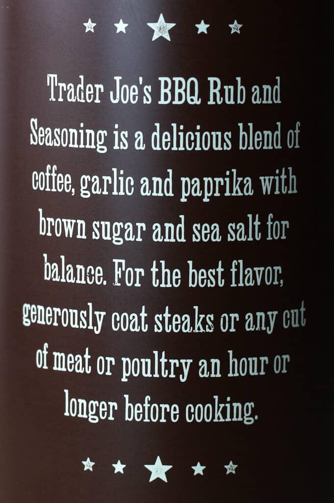 Trader Joe's BBQ Rub and Seasoning with Coffee and Garlic directions