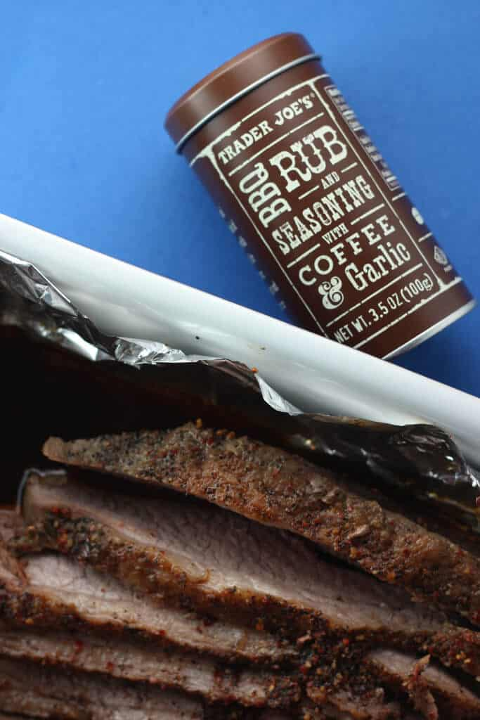 Trader Joe's BBQ Rub and Seasoning with Coffee and Garlic with brisket