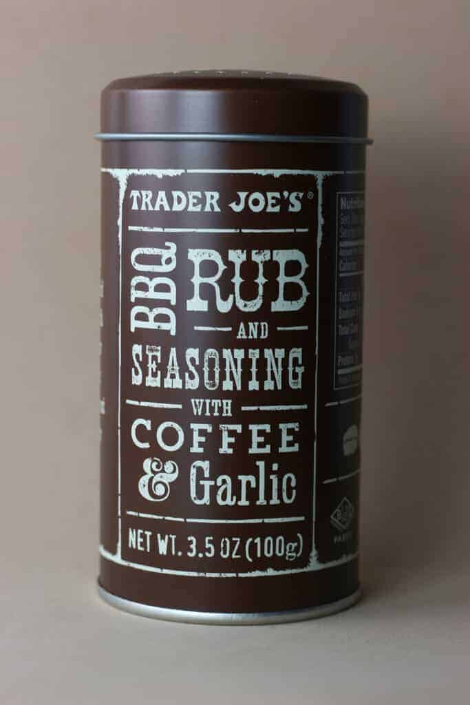 Trader Joe's BBQ Rub and Seasoning with Coffee and Garlic container
