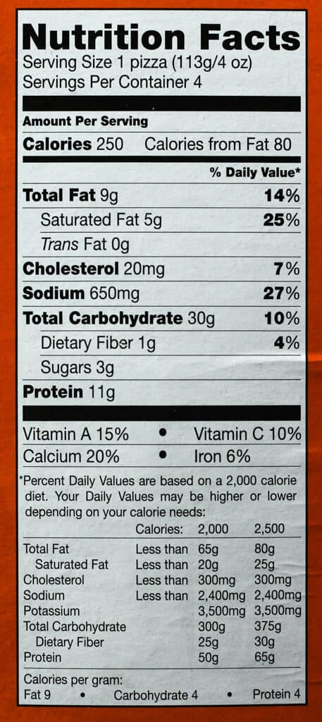 Trader Joe's Bambino Pizza Formaggio nutritional information
