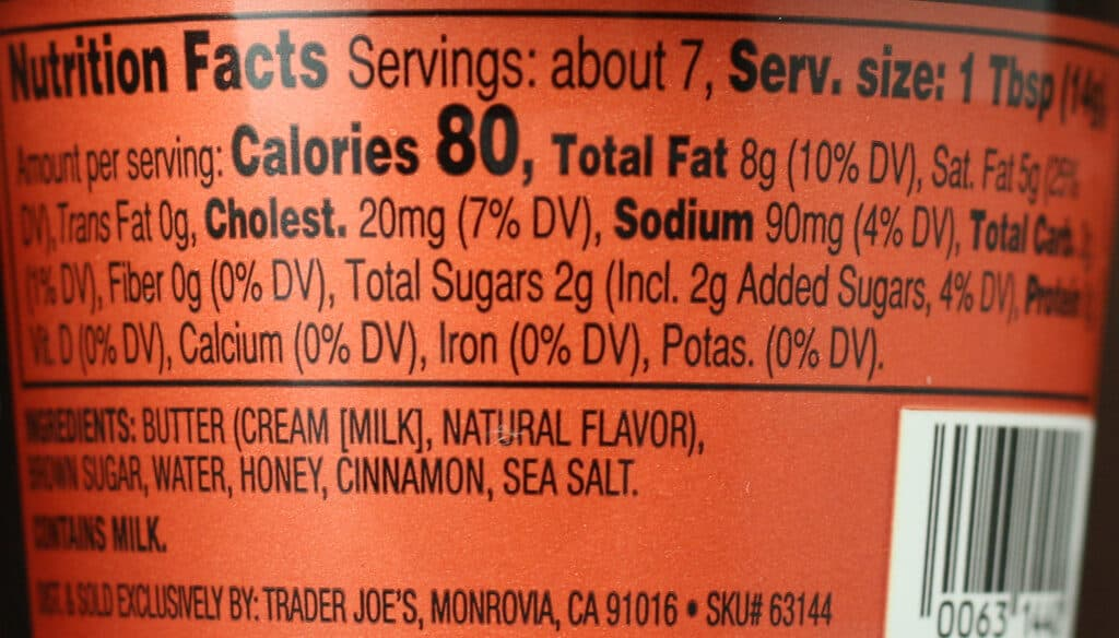 Trader Joe's Brown Sugar and Cinnamon Butter Spread nutritional information and ingredients