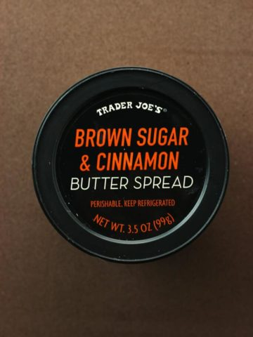 A new package of Trader Joe's Brown Sugar and Cinnamon Butter Spread