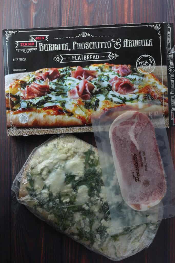 Trader Joe's Burrata, Prosciutto and Arugula Flatbread contents of the box