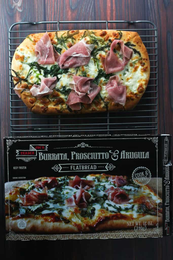 Trader Joe's Burrata, Prosciutto and Arugula Flatbread fully cooked and ready to serve
