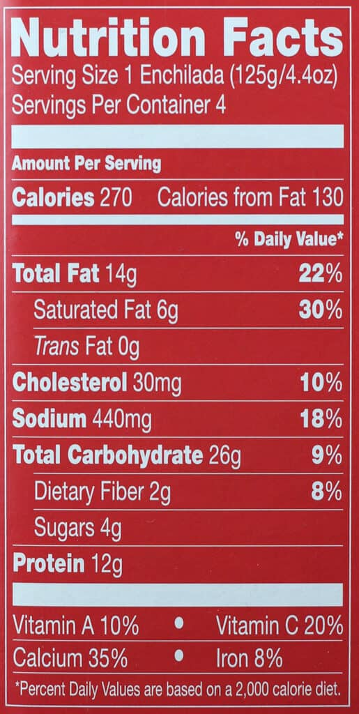 Trader Joe's Cheese Enchiladas Rojo nutritional information