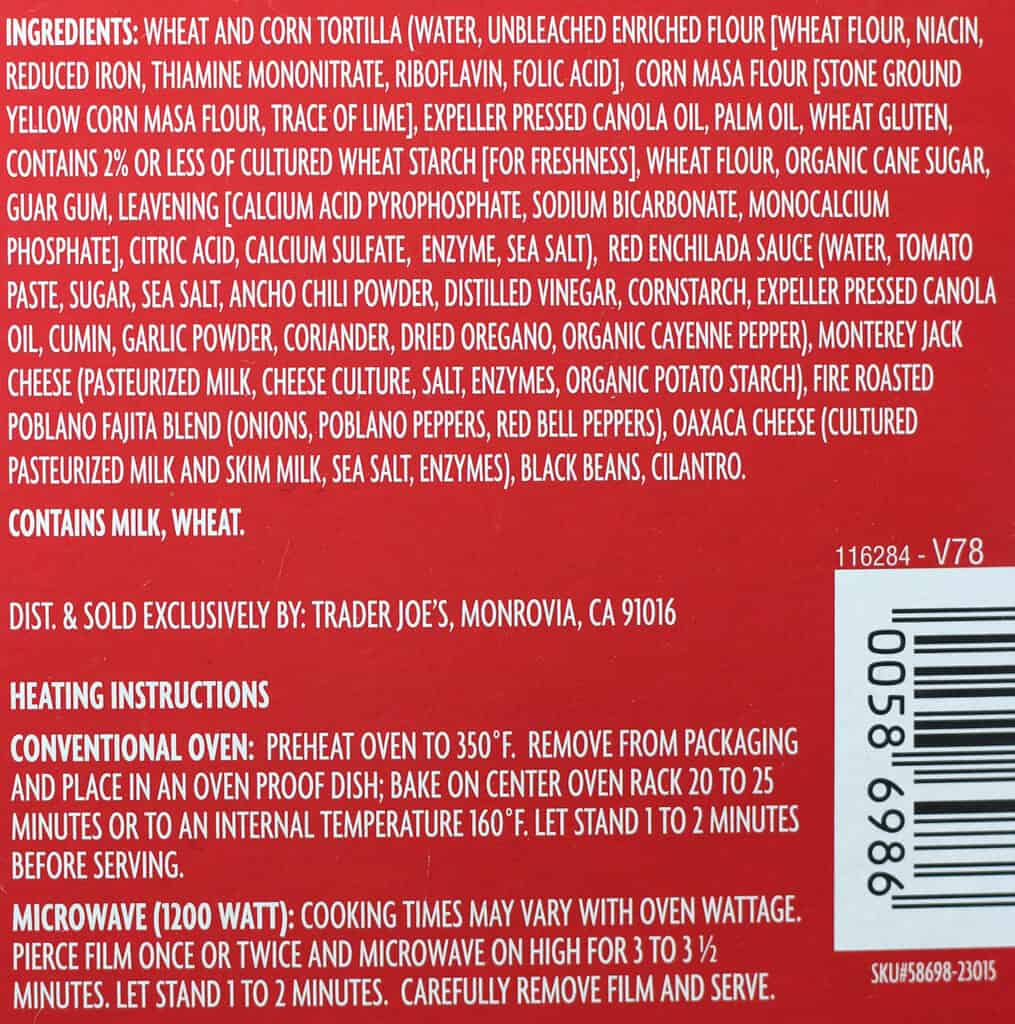 Trader Joe's Cheese Enchiladas Rojo ingredient list and how to prepare