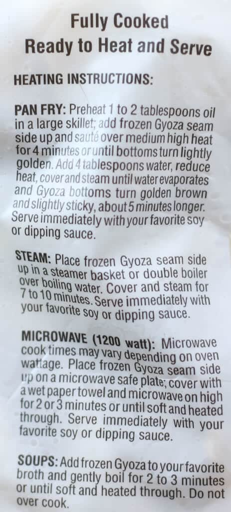 Trader Joe's Chicken Gyoza Potstickers directions
