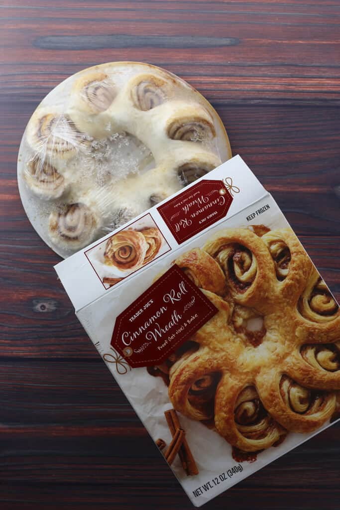 Trader Joe's Cinnamon Roll Wreath out of the box