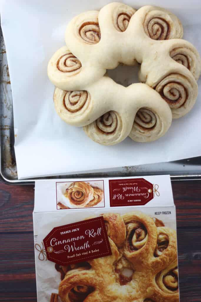Trader Joe's Cinnamon Roll Wreath after rising
