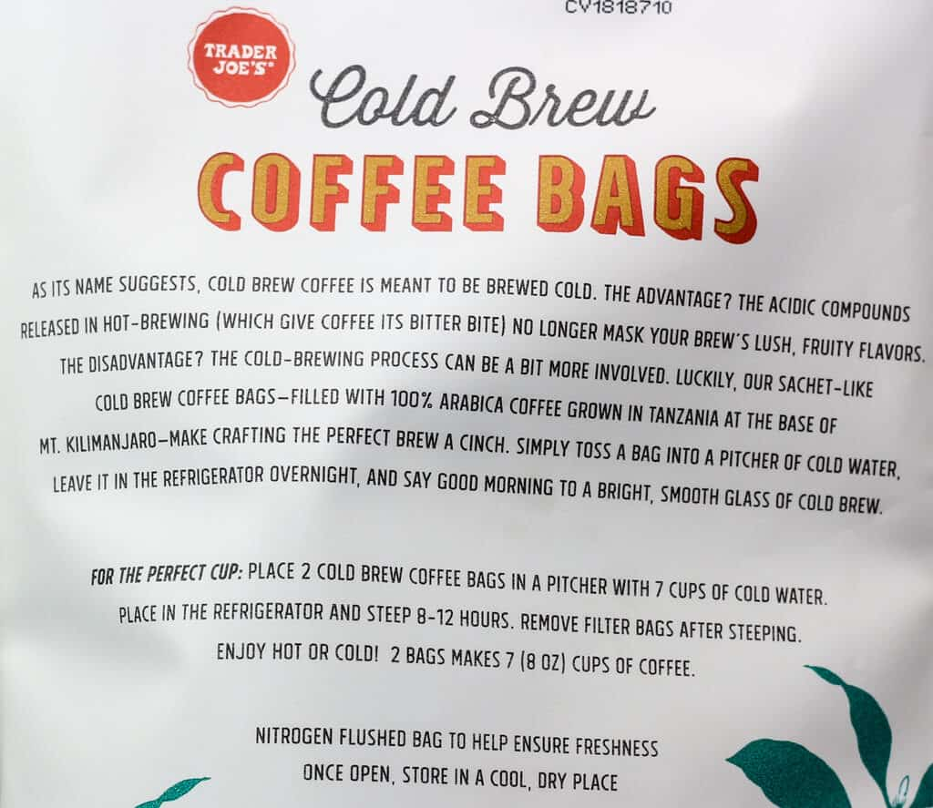 Trader Joe's Cold Brew Coffee Bags about and how to prepare