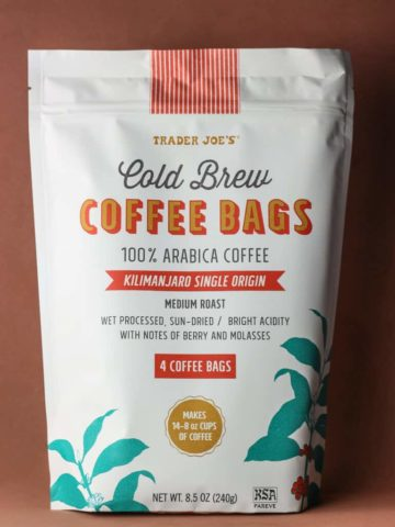 An unopened bag of Trader Joe's Cold Brew Coffee Bags