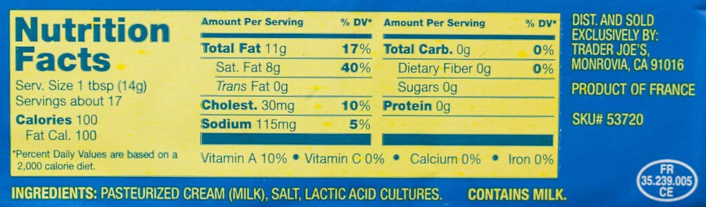 Trader Joe's Cultured Salted Butter nutritional information and ingredients
