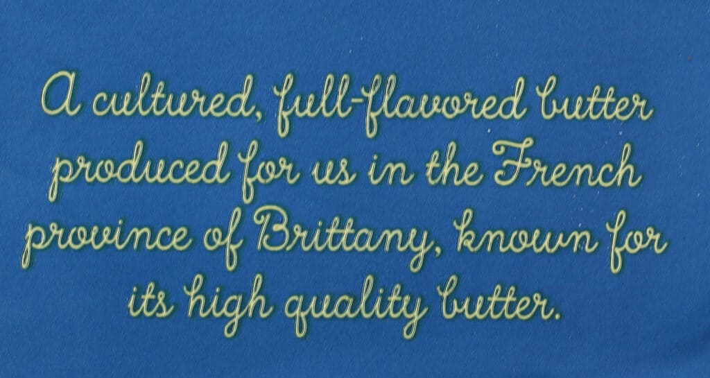 Trader Joe's Cultured Salted Butter description on package