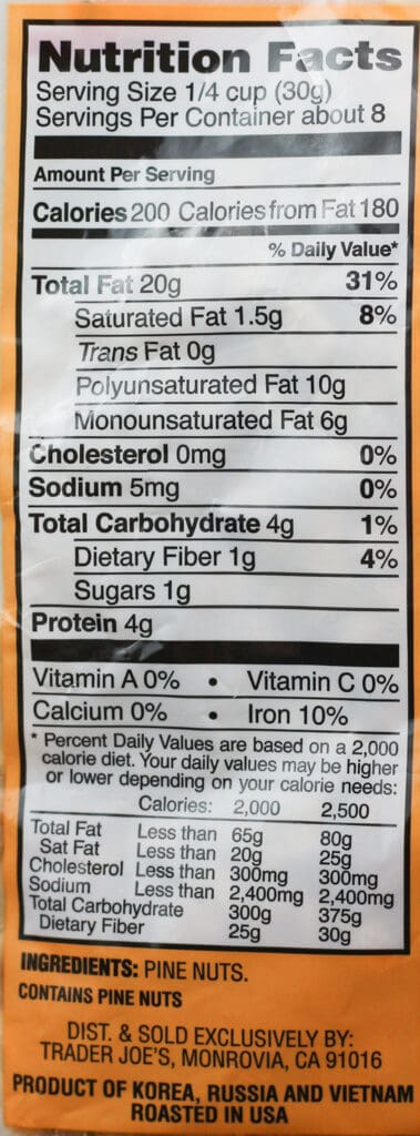 Trader Joe's Dry Toasted Pignolias Pine Nuts nutritional information and ingredients