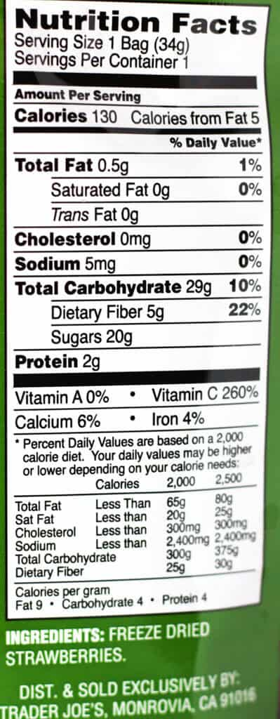 Trader Joe's Freeze Dried Strawberries nutritional information and ingredients