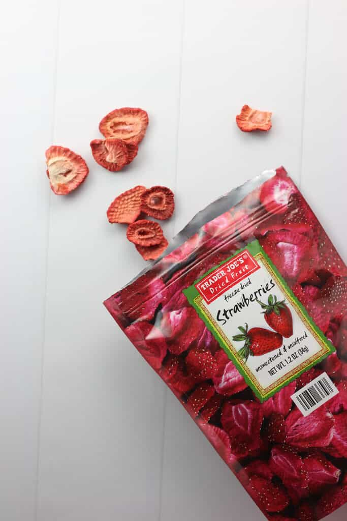 Trader Joe's Freeze Dried Strawberries out of the bag to see the texture
