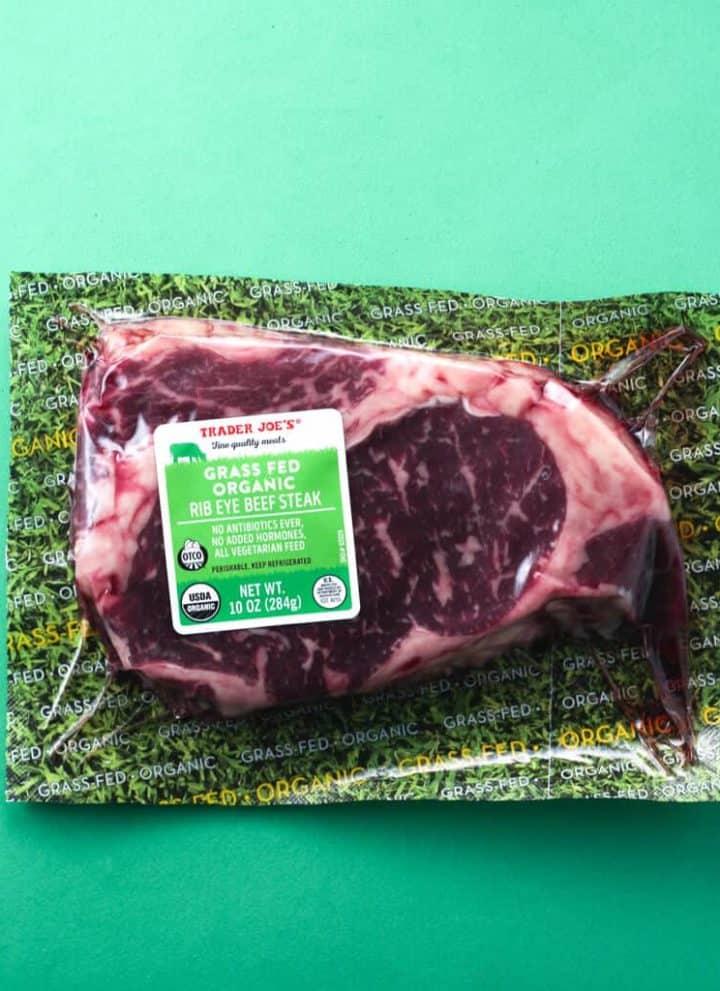 Trader Joe's Grass Fed Organic Rib Eye Beef Steak