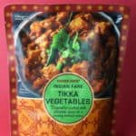 An unopened package of Trader Joe's Indian Fare Tikka Vegetables package