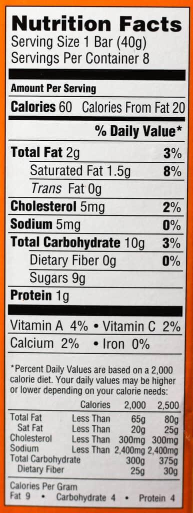 Trader Joe's Mango and Cream Bars nutritional information