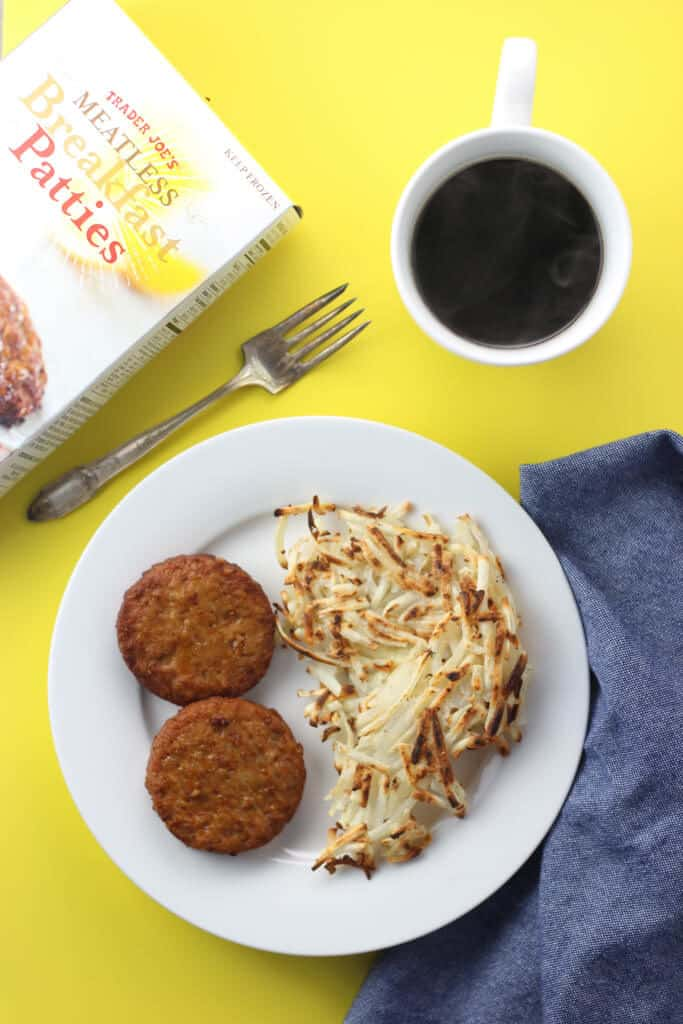 Trader Joe's Meatless Breakfast Patties fully cooked and with hasbrowns