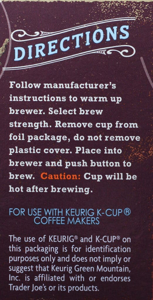 Trader Joe's Medium Roast Coffee Cups directions