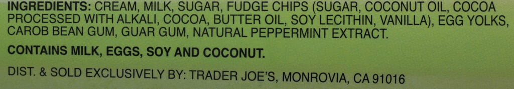 Trader Joe's Mint Chip Ice Cream ingredients