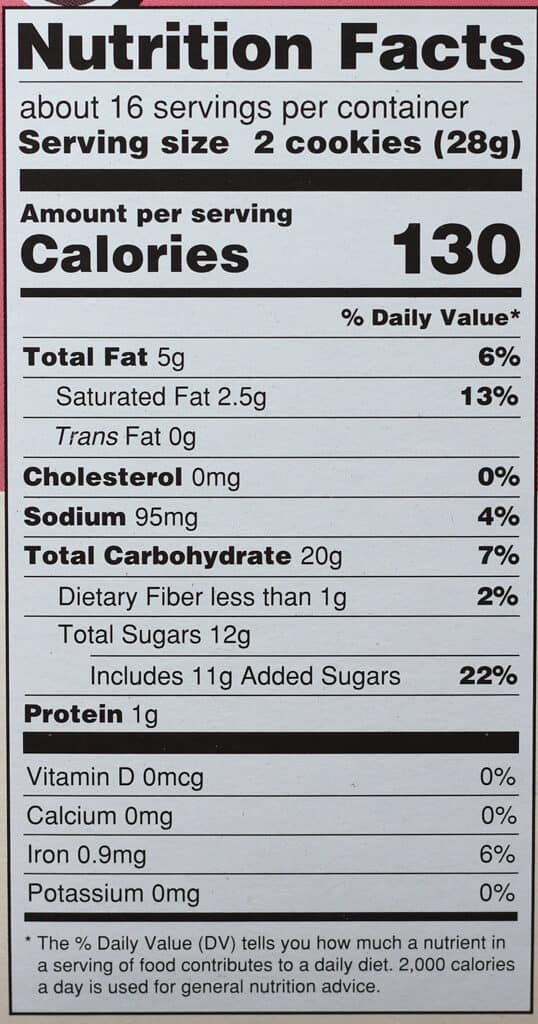 Trader Joe's Neapolitan Joe Joe's nutritional information