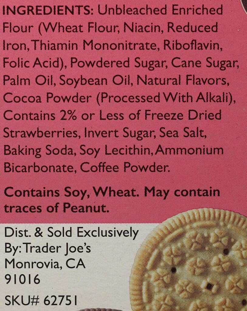 Trader Joe's Neapolitan Joe Joe's ingredient list