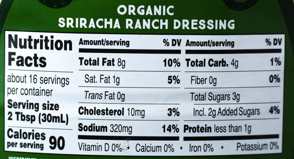 Trader Joe's Organic Sriracha Ranch Dressing nutritional information