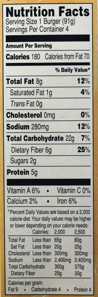 Trader Joe's Quinoa Cowboy Veggie Burgers nutritional information