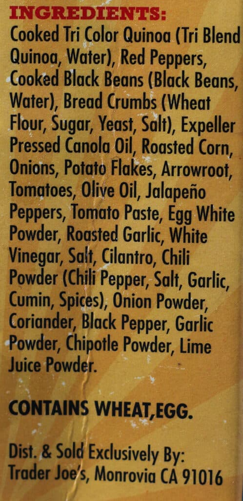 Trader Joe's Quinoa Cowboy Veggie Burgers ingredients
