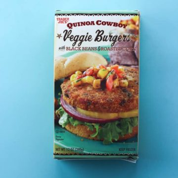 An unopened box of Trader Joe's Quinoa Cowboy Veggie Burgers box