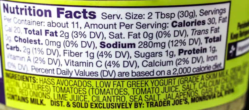 Trader Joe's Reduced Guilt Chunky Guacamole nutritional information and ingredients