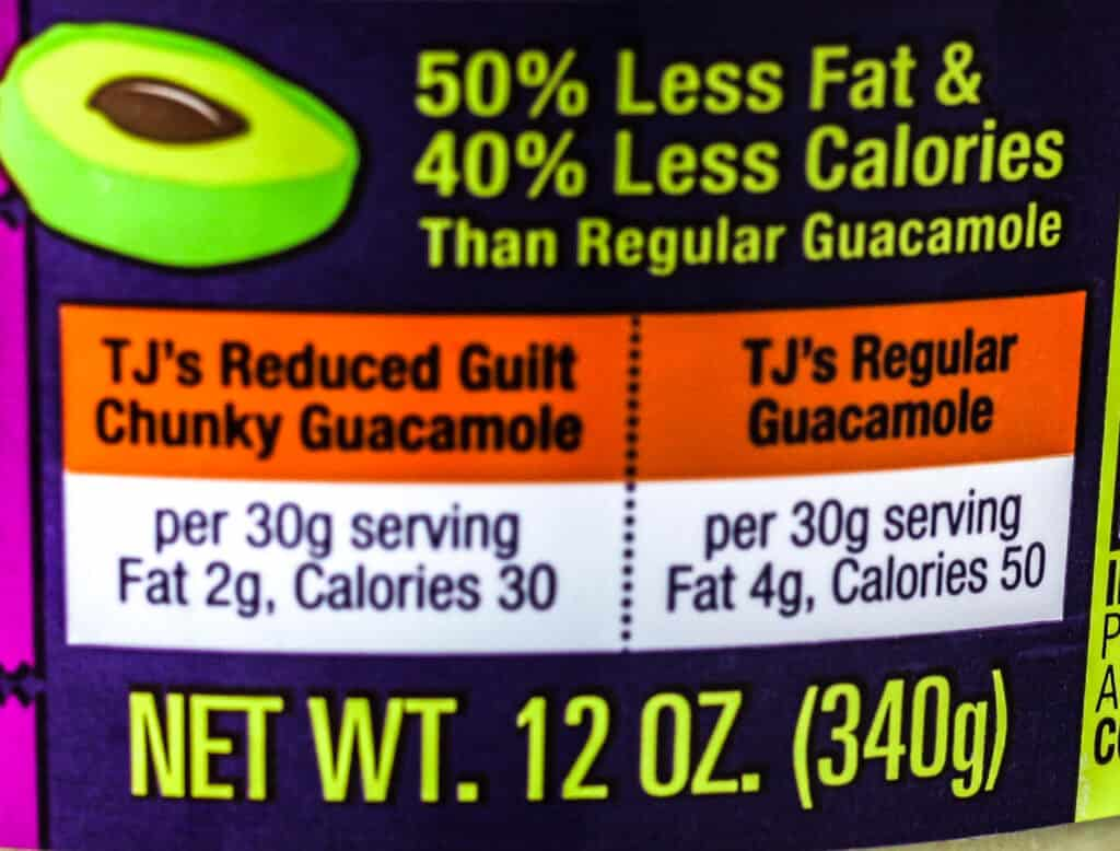 Trader Joe's Reduced Guilt Chunky Guacamole description