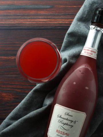Trader Joe's Secco Strawberry and Raspberry Rossini poured into a glass