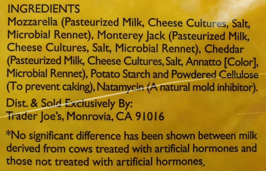 Trader Joe's Shredded 3 Cheese Blend ingredient list