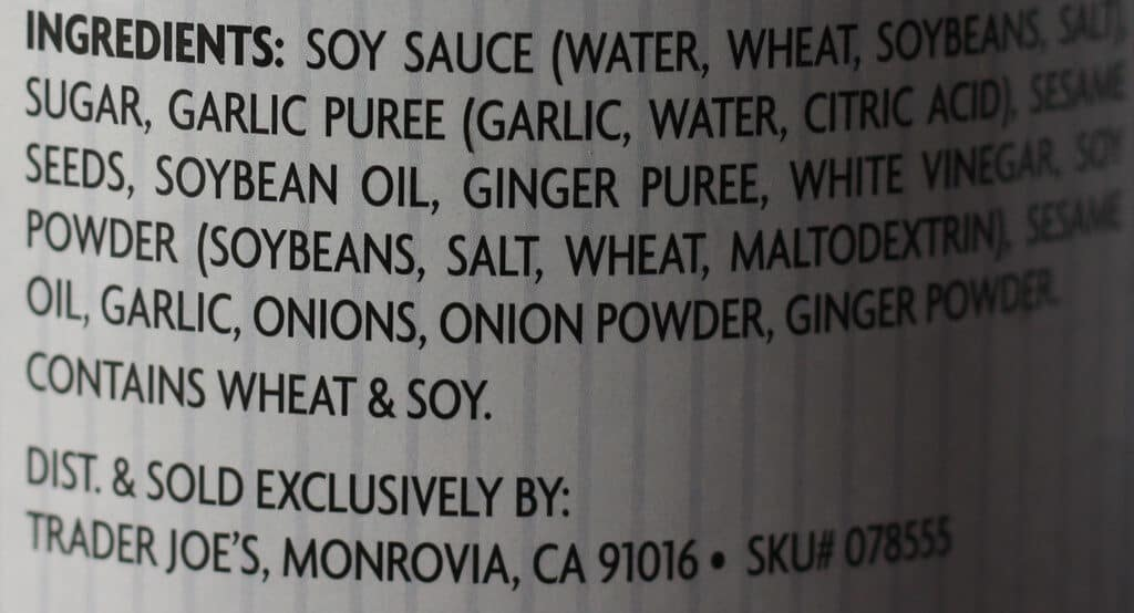 Trader Joe's Soyaki ingredients